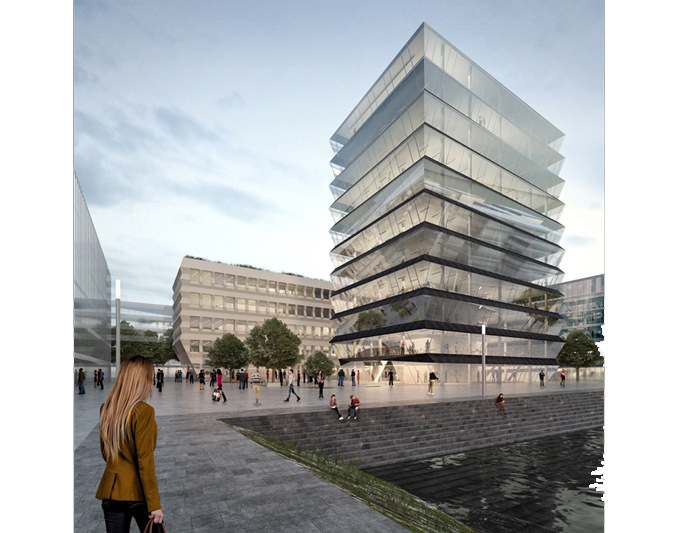 "MVRDV and morePlatz win competition ""Hafenspitze"" in Mainz, Germany"