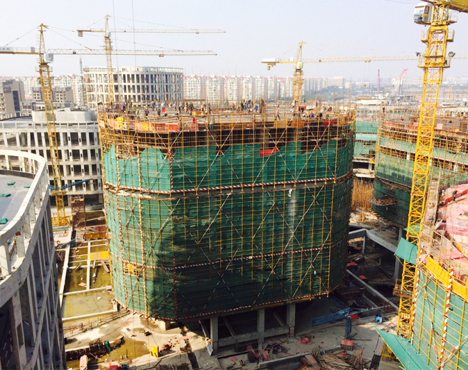 Construction of the Hongqiao Central Business District Continues in Shanghai