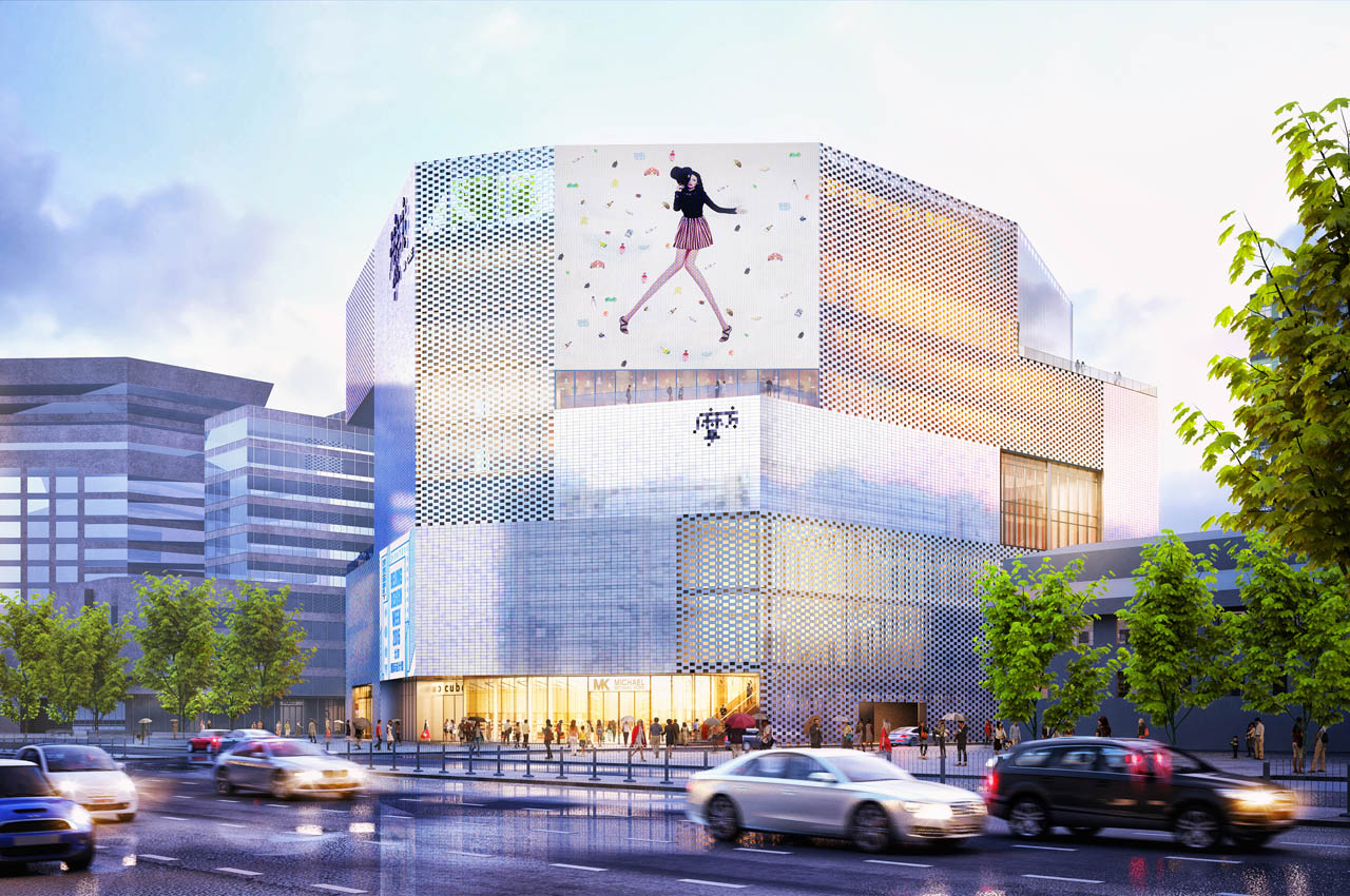 Chongwenmen M-Cube shopping centre, Beijing offers changing façade conditions: grey to pearlescent
