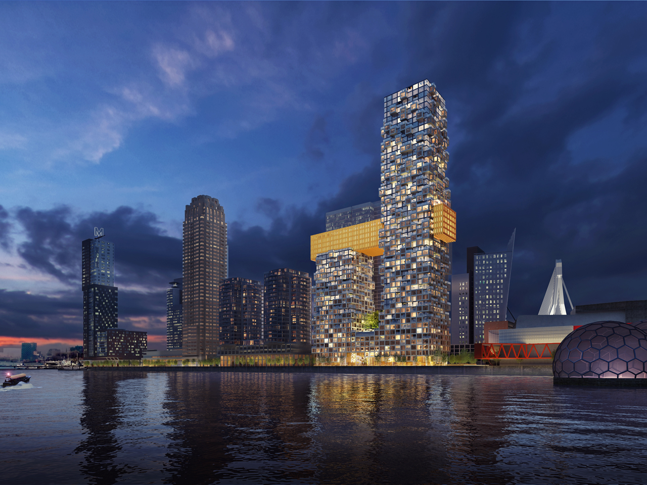 MVRDV announced as competition winners for The Sax, a new 51 floor mixed-use tower in Rotterdam