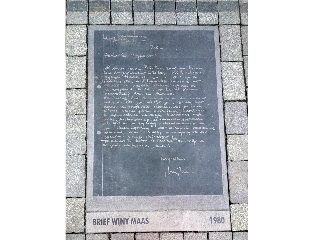 Letter written by Winy Maas as a student gets set in stone in Schijndel