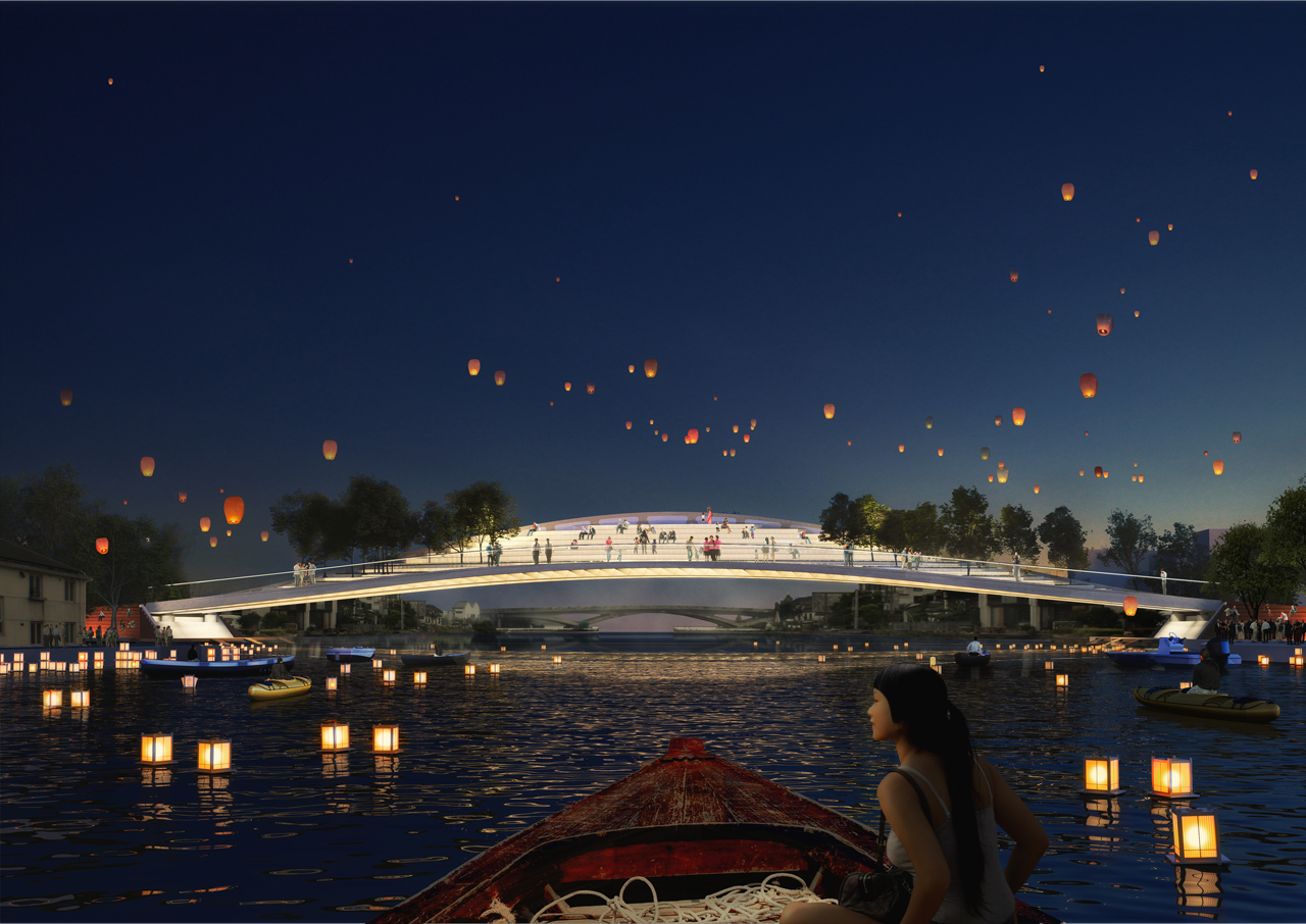 MVRDV's Dawn Bridge near Shanghai offers seats to view a historic town and river scenery