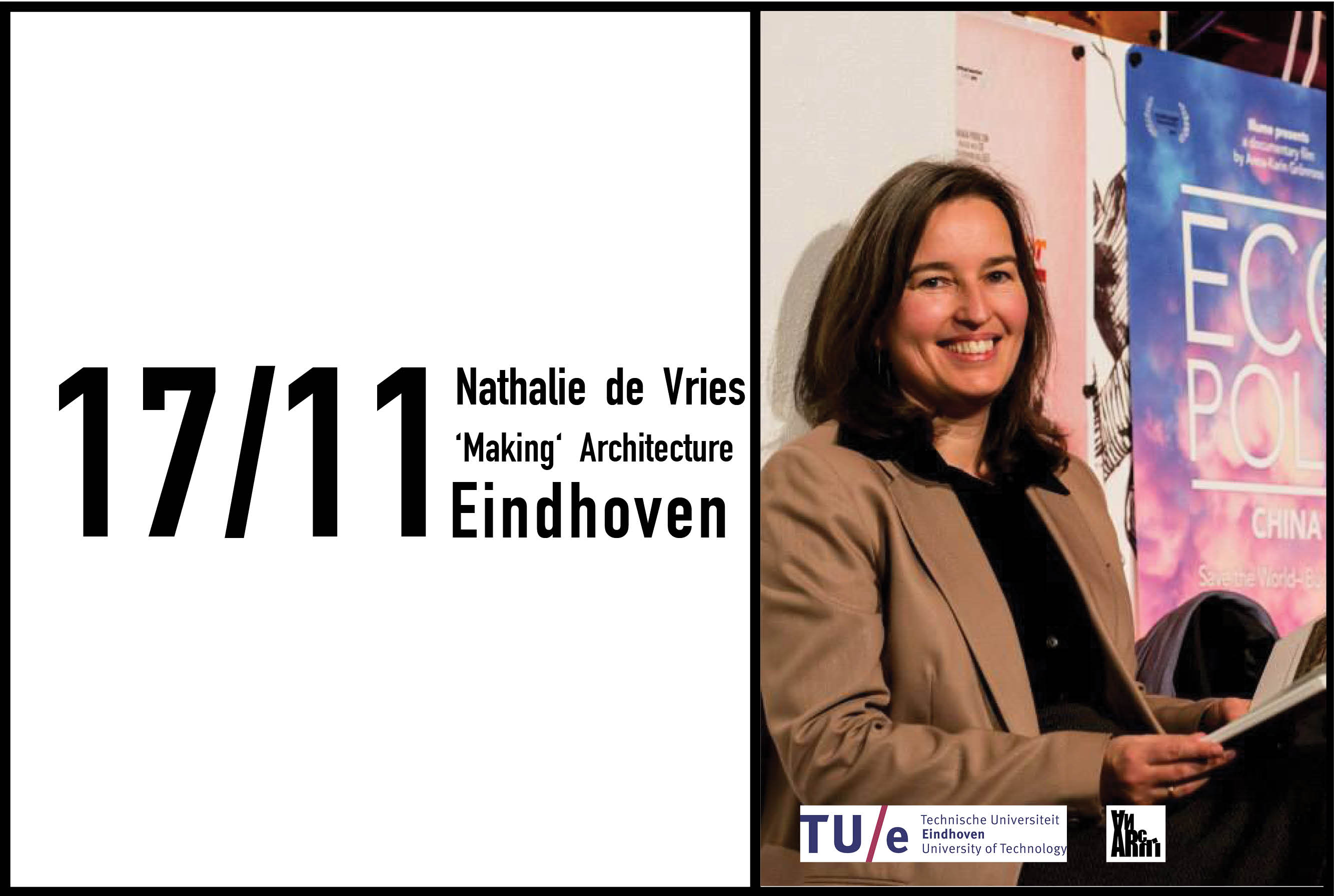 Nathalie de Vries to give double lecture 'Making Architecture' with Willem Jan Neutelings at TU Eindhoven, 17th November 2016
