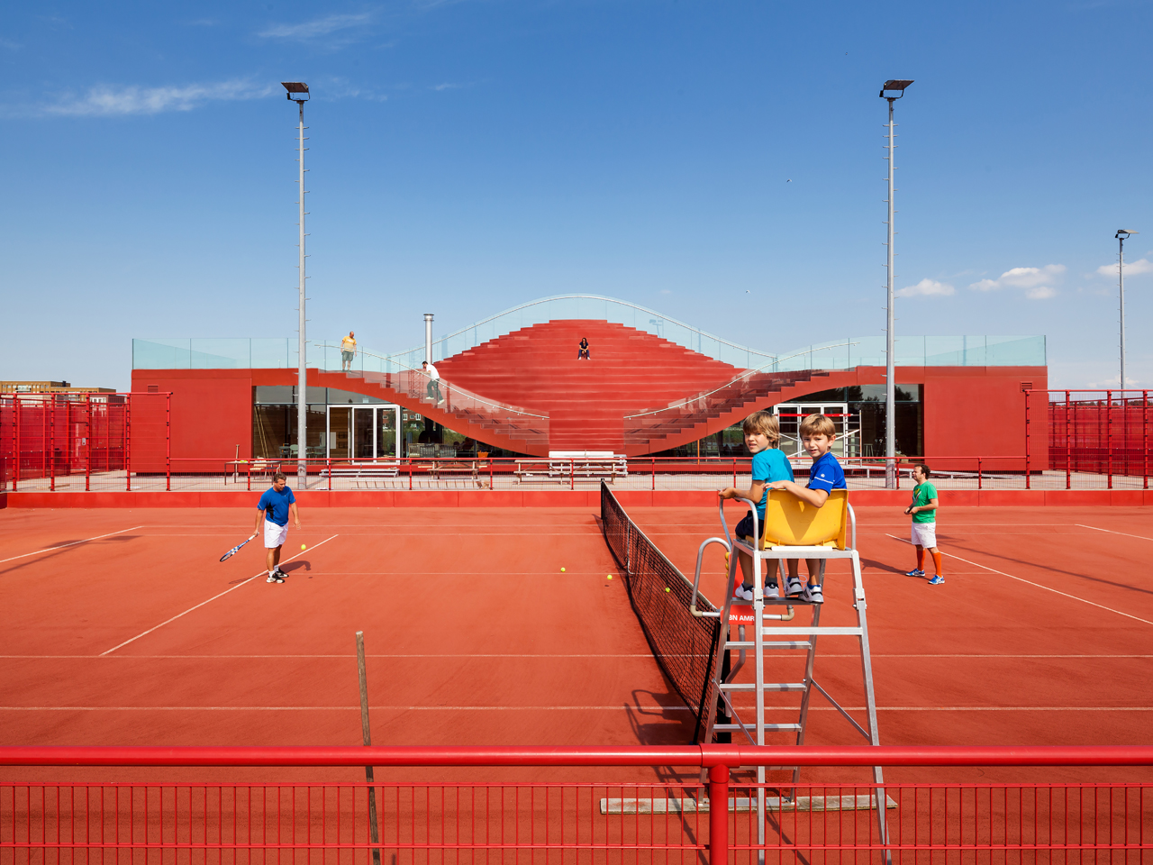 MVRDV completes The Couch, a club house for Amsterdam's Tennisclub IJburg